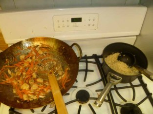 Stir-Fried Chicken With Carrots & Mushrooms, Rice Good To Go