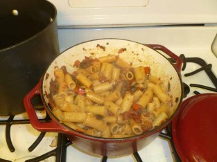 Pasta Added To Pepper Puttanesca Sauce