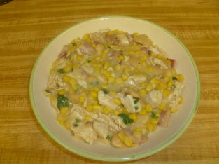 American Southern Succotash Soup With Chicken Plated (Bowled?)