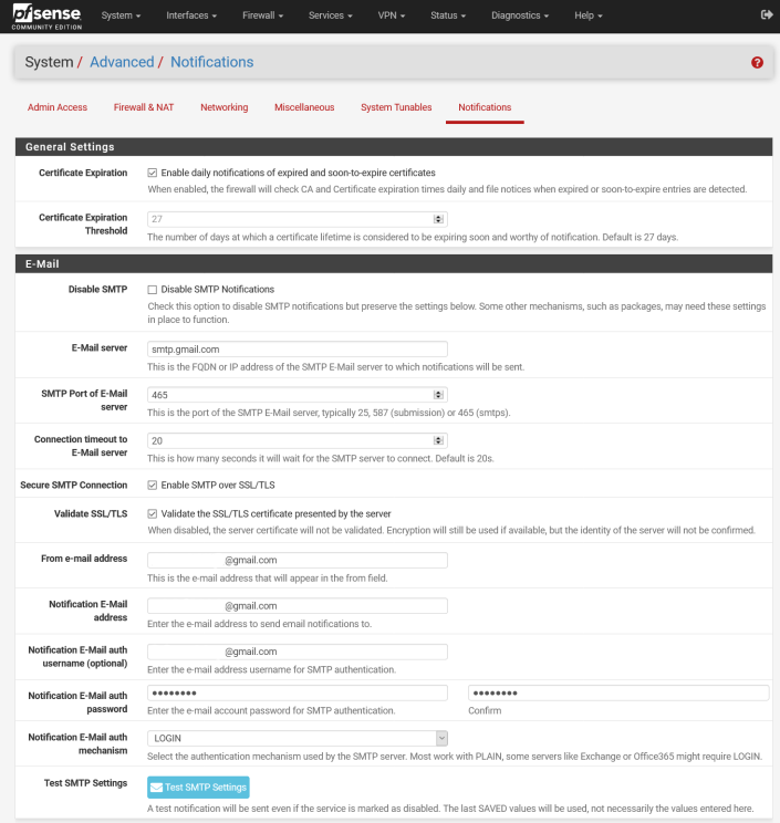SMTP Settings on pfSense (Google Mail is being used here)