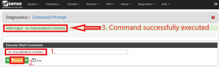 """Execution of command (without quotes) """"mv /tmp/dshield.ini /root/bin/"""""""