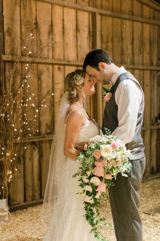 Couple Portrait with Cascading Bouquet
