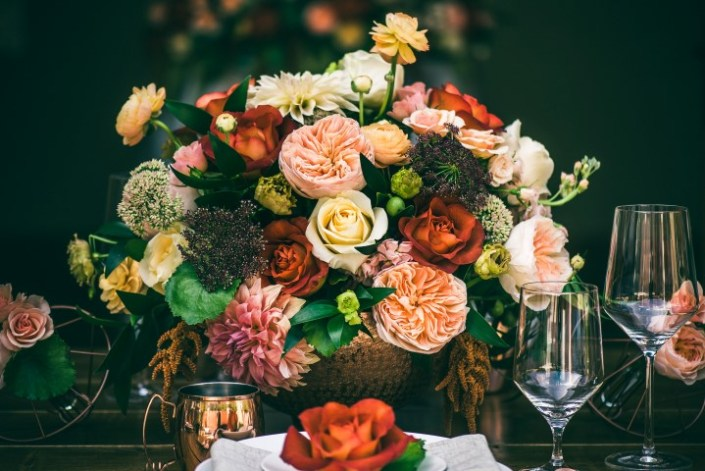 Wedding Table Setting with Rich Colors