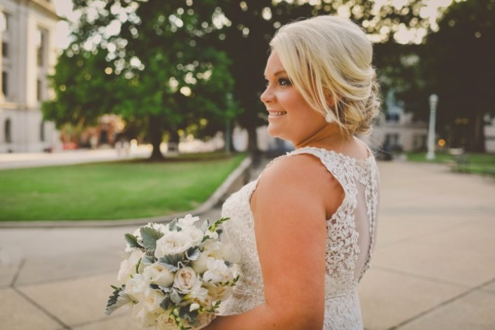 Closeup Bridal Portrait with Shades of White Bouquet