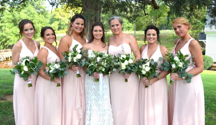 Bride & bridesmaids with bouquets