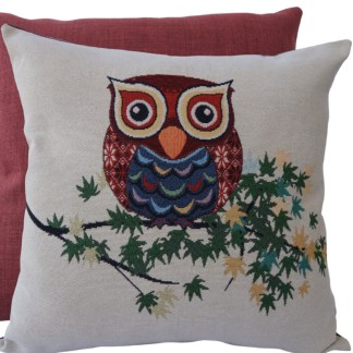 Owl on Branch Feature Cushion