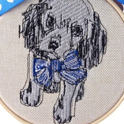 Blue Dog - Embroidery Hoop Art , unique wall hanging gift
