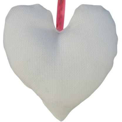 Padded Hanging Heart - Pink Flower, embroidered gift