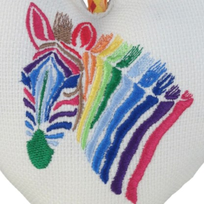 Padded Hanging Heart - Rainbow Zebra, embroidered gift