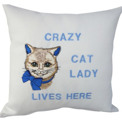 Crazy Cat Lady Embroidered Cushion