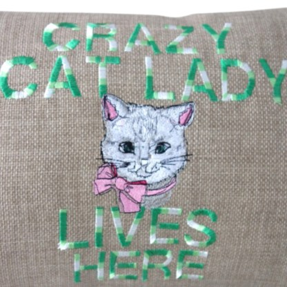 Crazy Cat Lady Embroidered Oblong Cushion - home gift