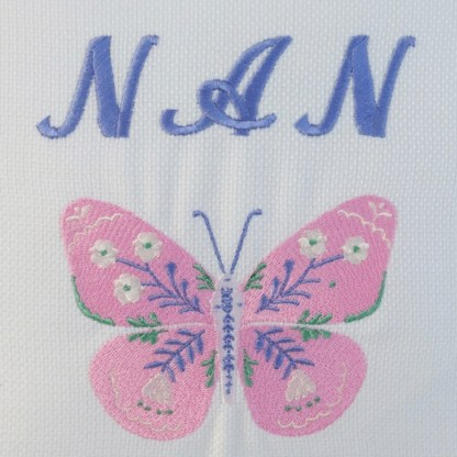 Nan & Butterfly Embroidered Cushion - unique home gift