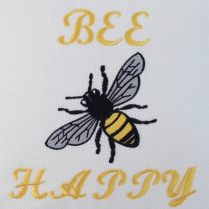 Bee Happy Embroidered Cushion - unique home gift