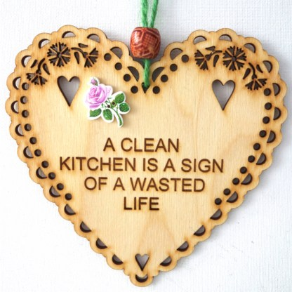 15cm Wooden Hanging Heart - Clean Kitchen, engraved gift