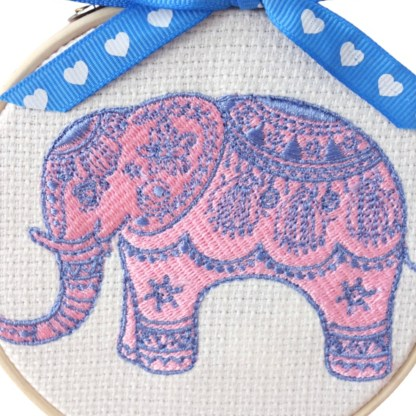 Pink Elephant - Embroidery Hoop Art, unique wall hanging gift