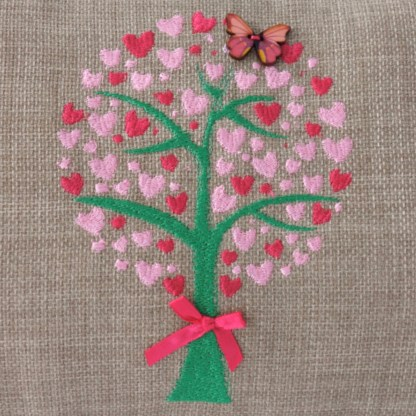 Heart Tree Embroidered Oblong Cushion - unique home gift