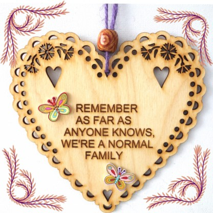 Wooden Hanging Heart Normal Family