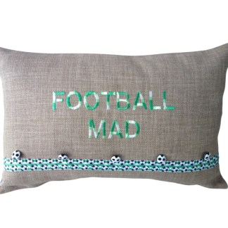 Football Mad Embroidered Oblong Cushion