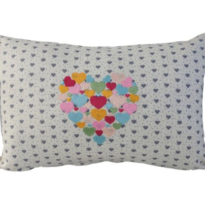 Heart of Hearts Embroidered Oblong Cushion