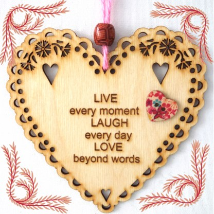 Wooden Hanging Heart Live Laugh Love