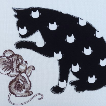 Cat & Mouse Embroidered Cushion - unique home gift