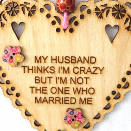 15cm Wooden Hanging Heart - My Husband, engraved gift