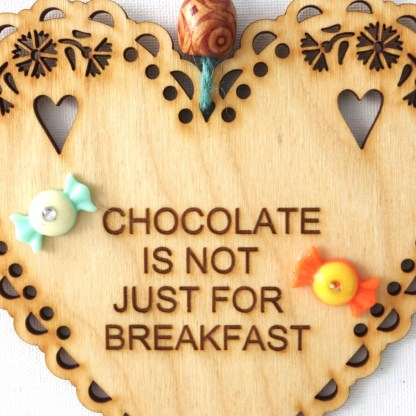 15cm Wooden Hanging Heart - Chocolate, engraved gift