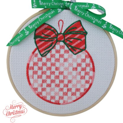 Red Bauble Embroidered Hoop