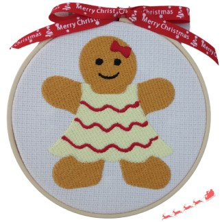 Gingerbread Lady Embroidered Hoop