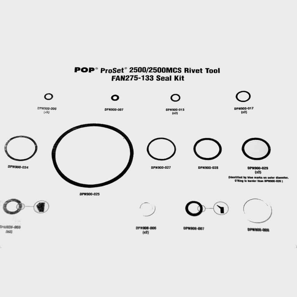 POP FAN275-133 Seal Kit for Proset 2500 / 2500MCS (Seal Repair Kit)