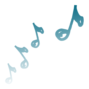 BLUE MUSIC NOTES FADED