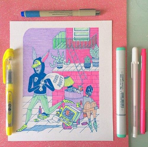 Illustration by Kristen M. Liu on the Pop Shop America Art Blog Art Festival