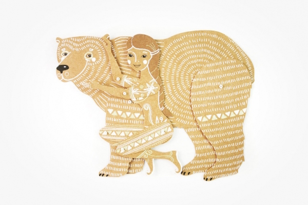 MD Paper Dolls | Bear and Woman Cut Paper by Maria Dubrovskaya
