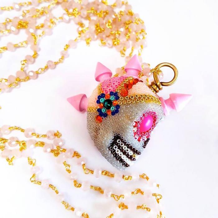 Skull Necklace Handmade Jewelry Shops in Houston Brass Thread Jewelry