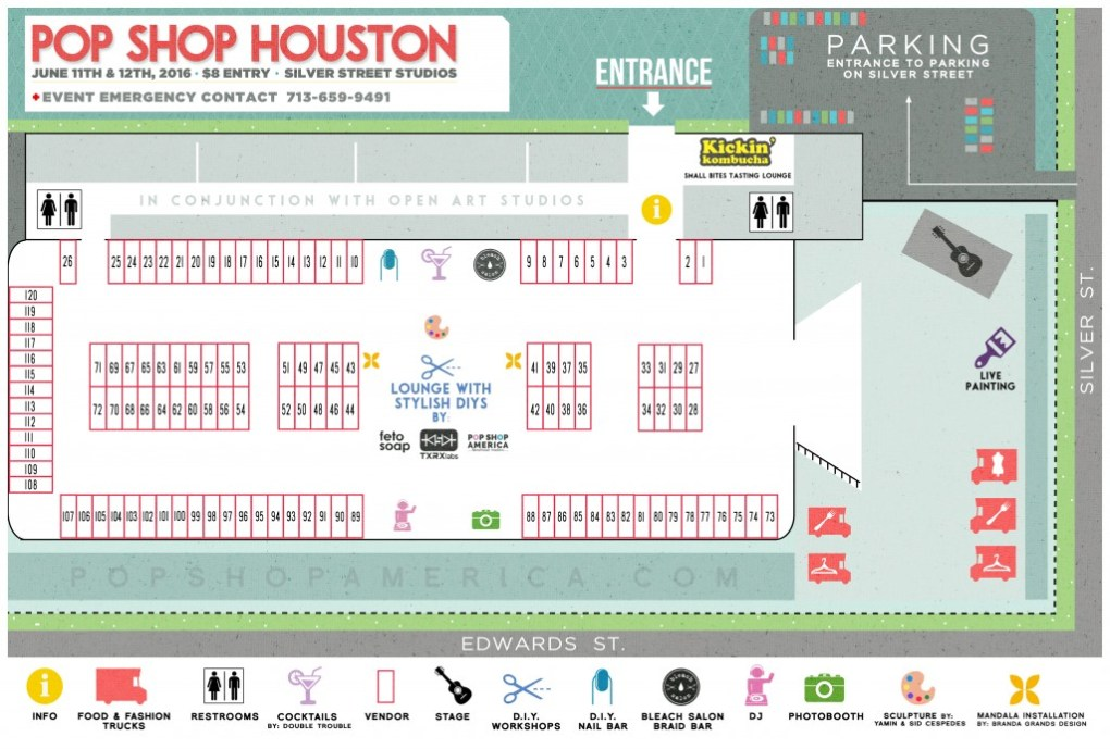 Pop Shop Houston Summer Festival Map Craft Fair Art Market Pop Up Shop Houston