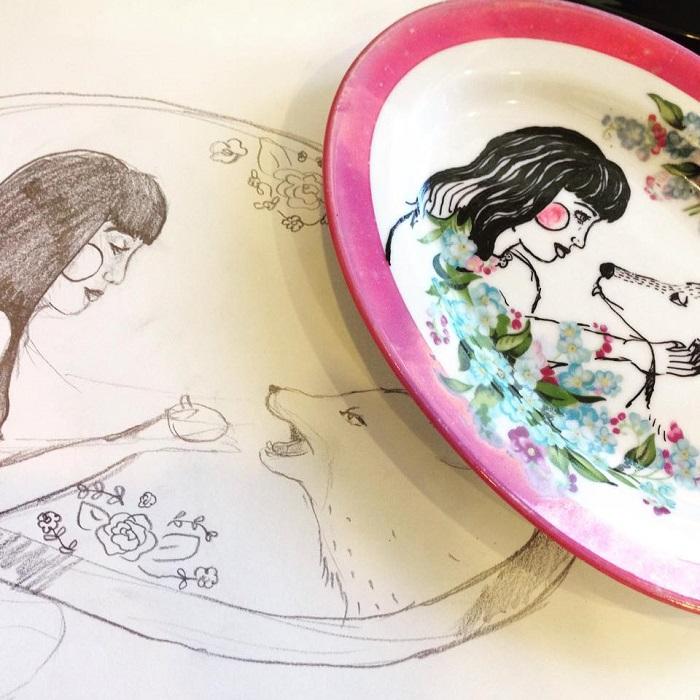 Kelly Kielsmeier Handmade Ceramic Paintings Girl and Wolf Paintings