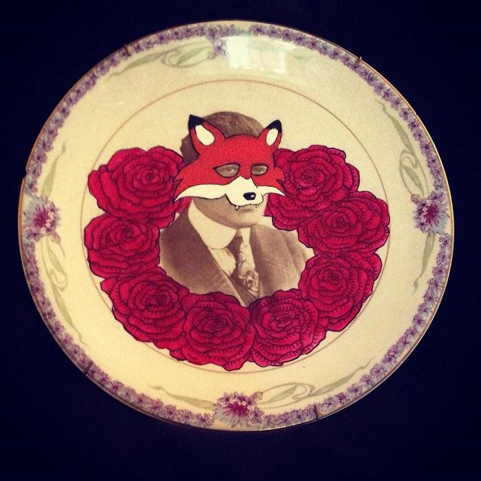 Kelly Kielsmeier Handmade ceramic plate art with fox mask fox and roses art