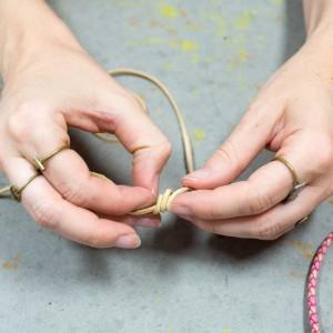step 4 how to tie a leather slip knot boho bracelet diy tutorial
