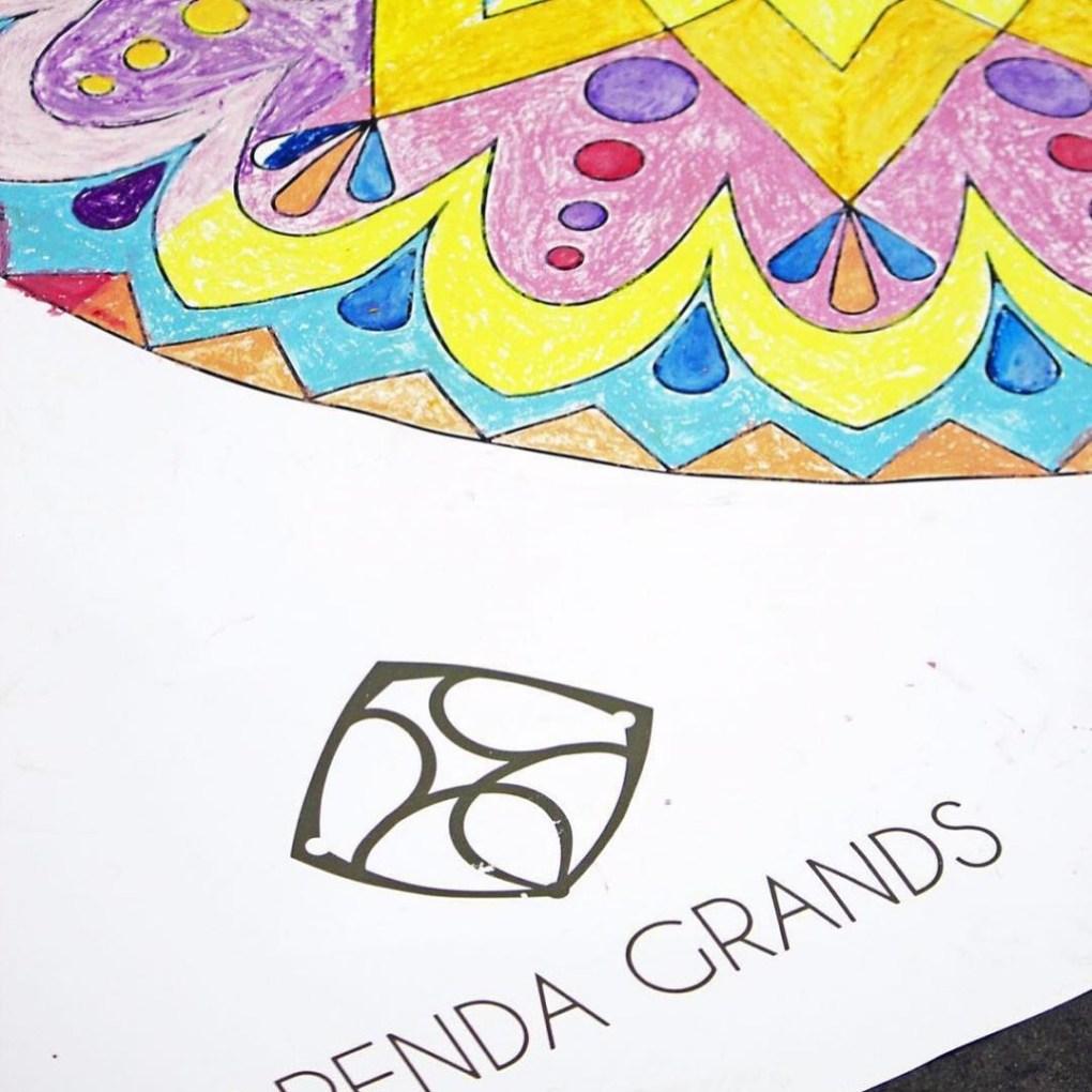 detail of mandala mural coloring poster