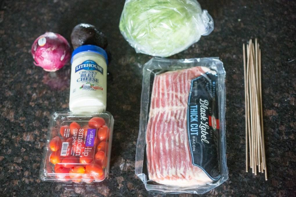 ingredients to make grilled wedge salad skewers