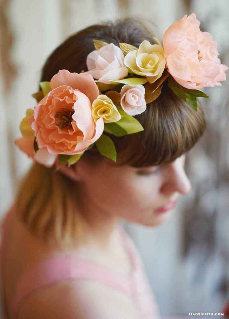 crepe paper flower crown diy by lia griffith