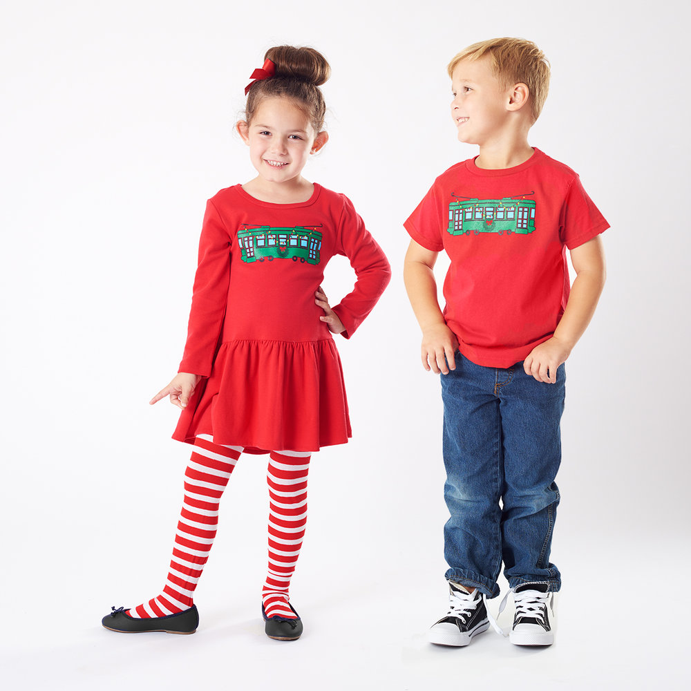bon-temps-red-trolley-kids-t-shirts-handmade