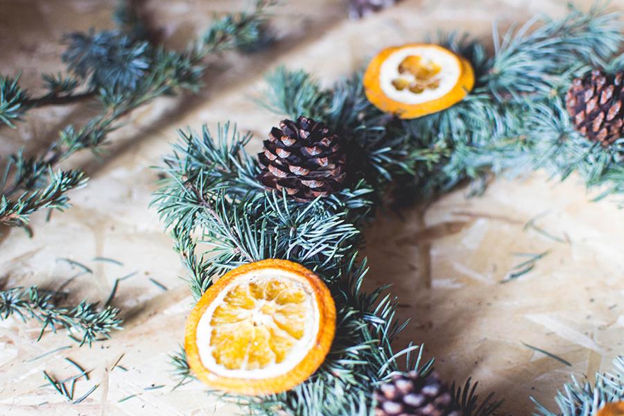 Close-up of DIY Natural Christmas Wreath