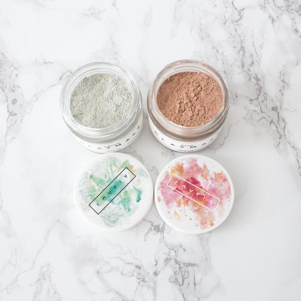 lovely clay masks - green clay, pink clay, and bentonite clay