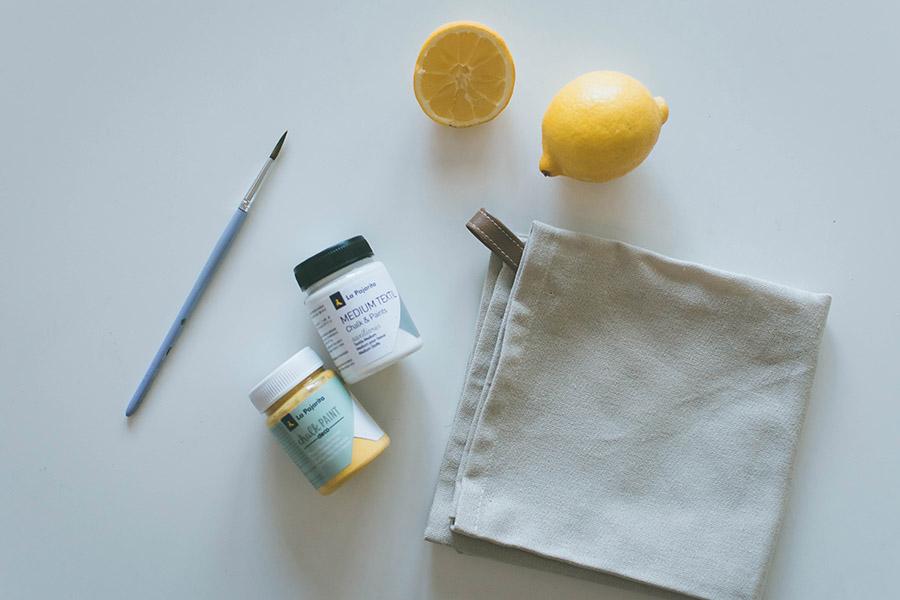 DIY Lemon Stamped Tea Towel Materials