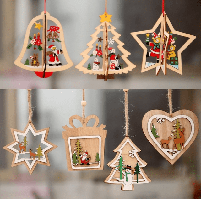 Christmas Wooden Hanging Pendants_Popsicle Society Shop