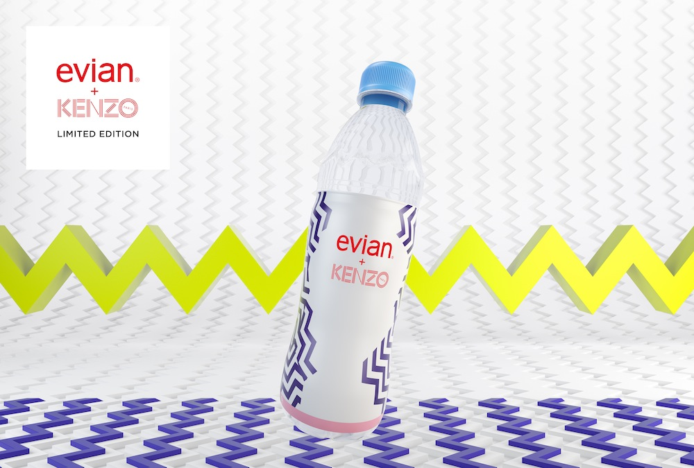 evian's 2015 collectible water bottle, designed by Kenzo.  This one appears to be a plastic bottle.  Courtesy of popsop.com