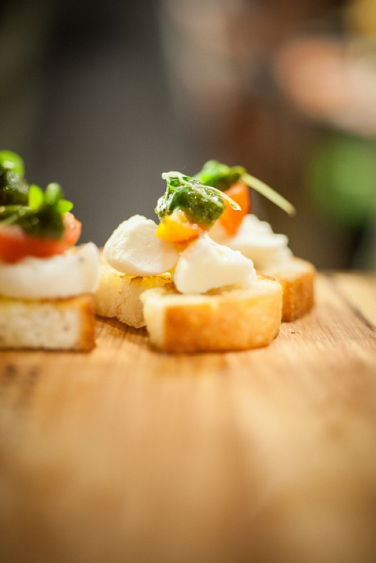 Buffalo Mozzarella with roasted cherry tomatoes & Providore basil pesto (Photo Credit: Erwin – Shade Photography)