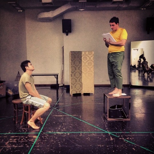 In rehearsal: Ethan Chia (left) and Riccardo Cartelli (right)