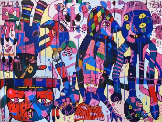 Eddie Hara, There's Something Kinky Going On Over Here, 150x200cm acrylic on canvas, 2016 (Image: Nadi Gallery)